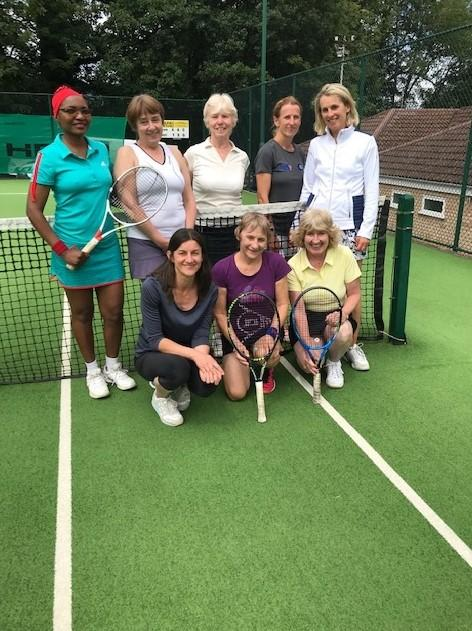Charity tennis winners, back row (left to right): Elizabeth Chaplin, Elaine Fleming, Jill Piner, Wendy Griffiths and Sue Lole. Front: Anna Reed, Janet Murray and Sarah Connell. Picture: JANE POYNDER