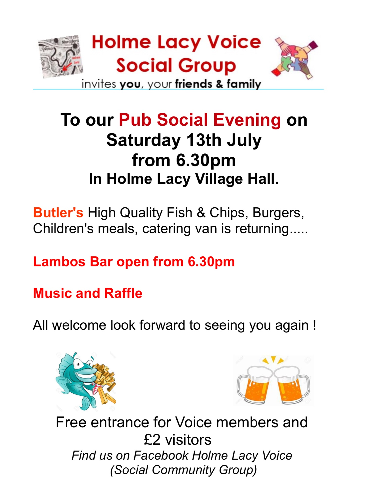 Fish & chip evening organised by Holme Lacy Voice