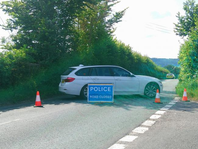 The road to Burghill has been blocked by police. Picture: Burghill Community Academy