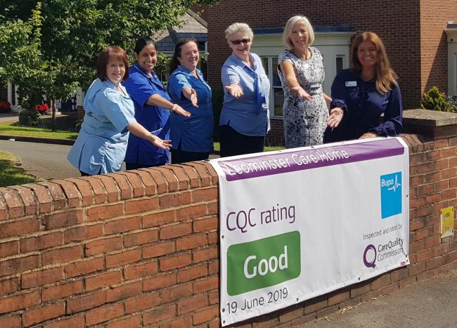 Staff at Leominster's Bupa Care Home are celebrating the result of their most recent CQC inspection. Photo: Bupa