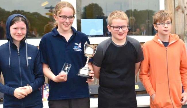 The Chase sailors receiving the best school trophy. Picture: RYA