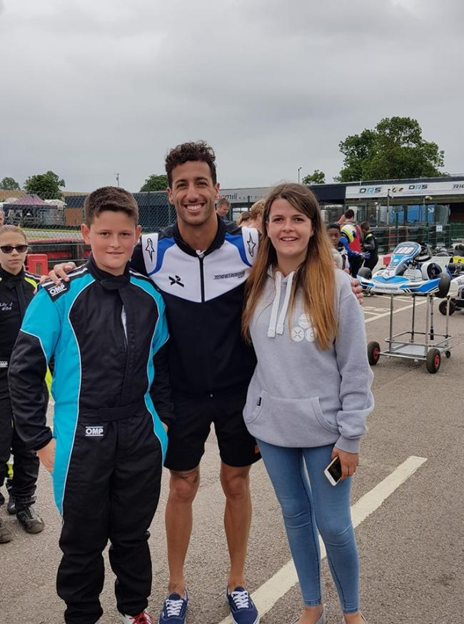 Ledbury's Joe Sheppy (left) with his sister Becky Brighton, who supports him at meets, and Australian Formula One driver Daniel Ricciardo