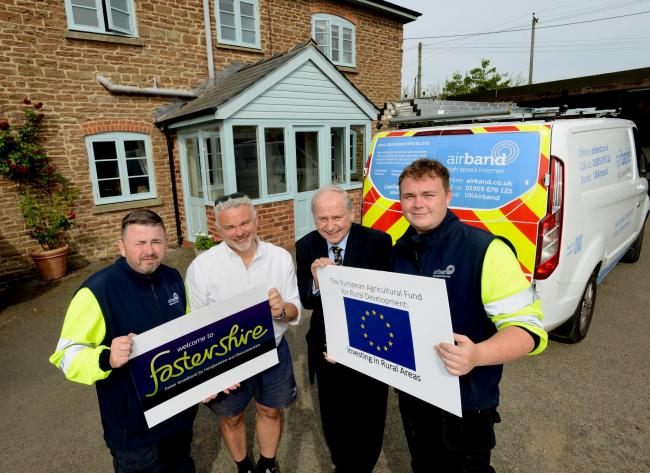 Airband engineers with commercial pilot Andy Jones, one of the first fibre broadband customers on the fourth rollout of the Fastershire project, with Councillor Shaw. Image:Chas Breton