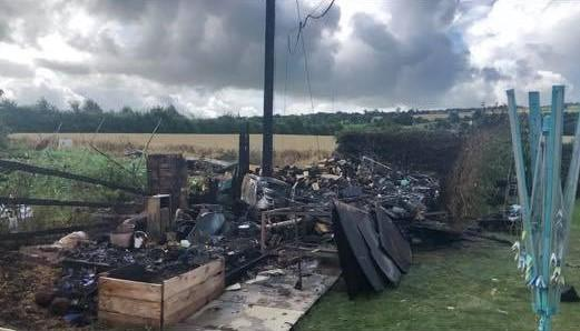 The aftermath of the fire. Photo: Fownhope Fire Station