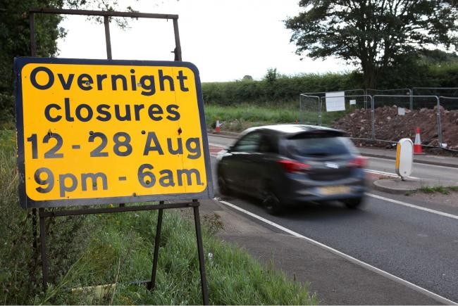 Highways England have switched to overnight works on the A49, near Ross-on-Wye. Photo: Rob Davies