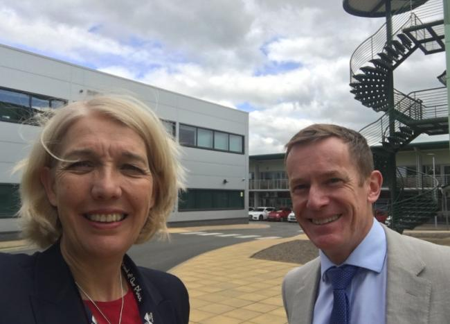 SCIENCE: Beverley Nielsen with Alan White, CEO, Malvern Hills Science Park