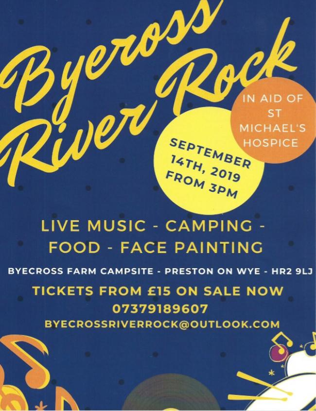 Byecross River Rock will raise money for St Michael's Hospice.