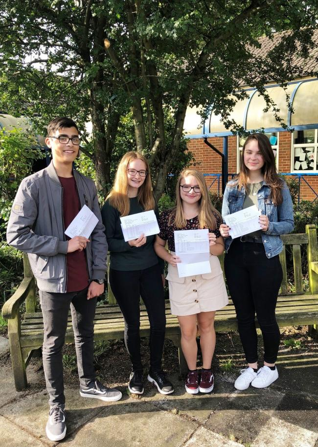 Waseley Hills students (l-r) Aaron Benson, Vicky Johnson, Paige Palmer and Ellie Harrison.