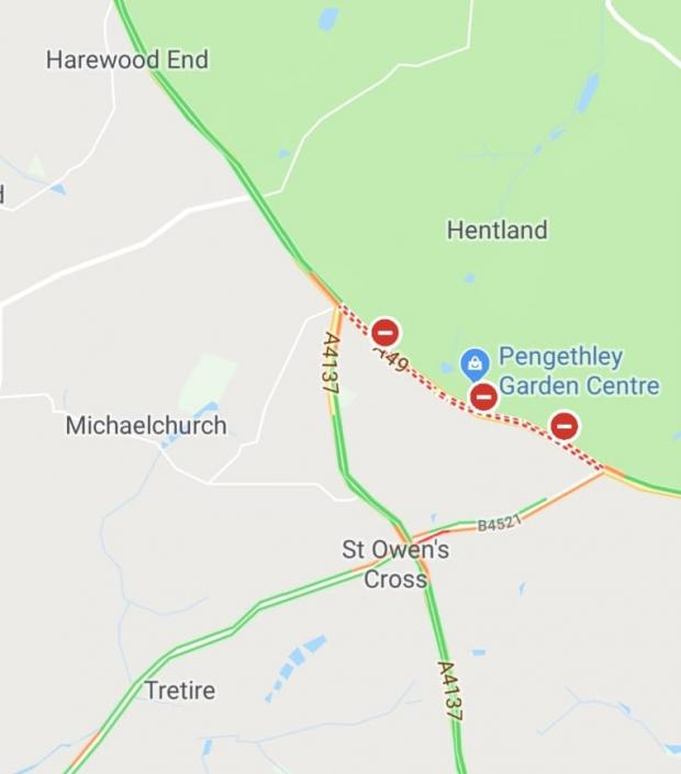 Ledbury Reporter: The road is closed near Pengethley Garden Centre. Photo: Google Maps