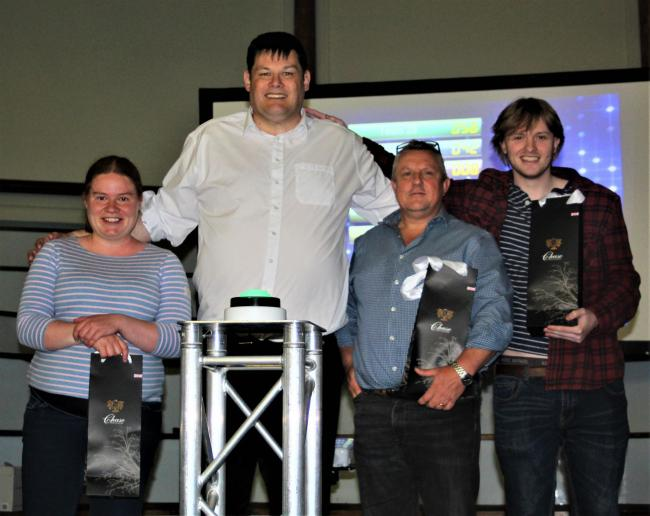 Pictured from left with the Beast, Mark Labbett, are Katy Chambers, Andrew Bailey and Matt Taylor