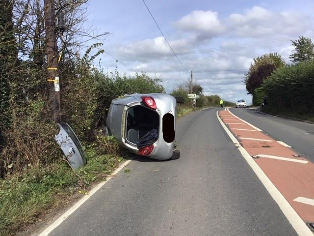 A wrecked car on the A438 Hereford-Ledbury road today. Picture: Herefordshire Council/Balfour Beatty Living Places