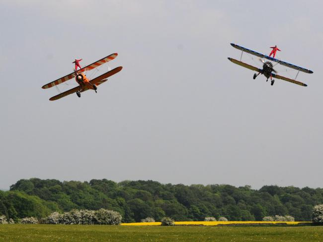 The daring duo will wing walk for charity. Photo: Breast Cancer Haven