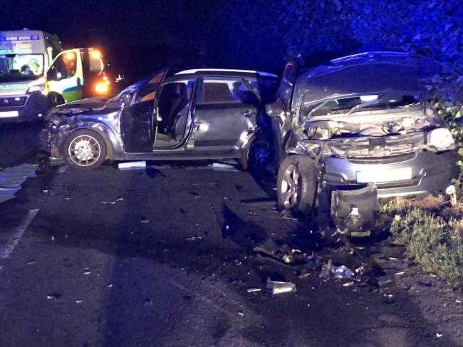 Three cars and a lorry were involved in a crash on the A44 in Herefordshire. Picture: HWFireLeominstr