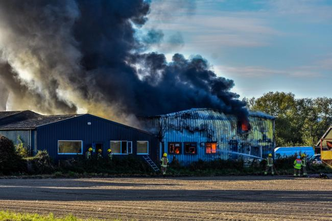 Afire which tore through a warehouse in Leominster yesterday was started accidentally, the fire service say. Photo: Jim Wood