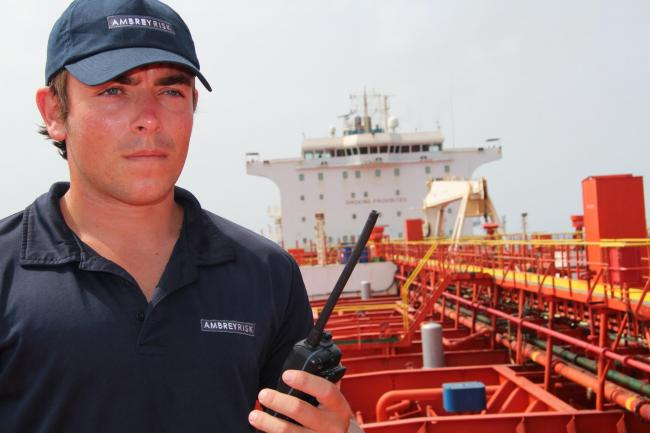Ambrey provide security on ships.
