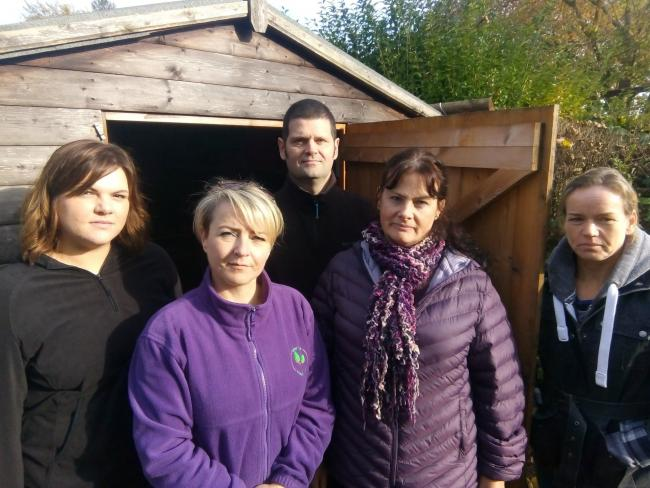 PTA member Micaila Price, Forest School leaders Sarah Hipwell, Tania Sinden and Robert Farnsworth, and Foley Park headteacher Kathryn Sugars.