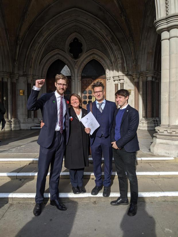 Ledbury Reporter: Ellie Chowns (second from left) celebrating after the High Court ruling