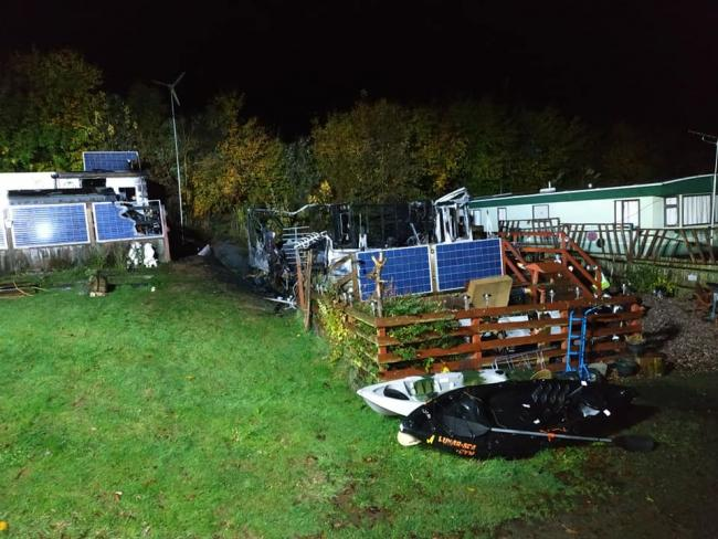 A caravan was completely destroyed. Photo: Bromyard Fire Station.