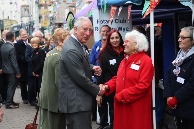 Prince Charles greeting former Ross-on-Wye mayor Joyce Thomas MBE. Photo: Steve Niblett.