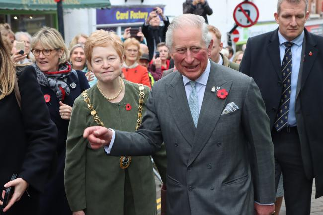 The Mayor of Ross, Jane Roberts, accompanied Prince Charles on his visit to Ross-on-Wye