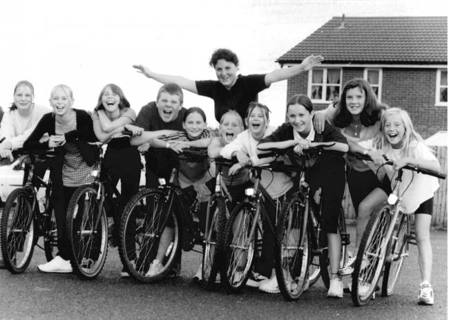 TODAY'S picture from the vaults of the Worcester News dates from August 1999, when a group of girls took part on a cycling fundraiser for the Ronkswood Community Centre. Pictured with the girls is volunteer Sarah Potter from Stourport, who stepped f