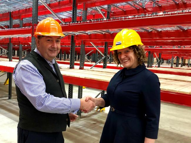 TVH warehouse and logistics manager Martin Packer with Hewett Recruitment director Laura Hewett