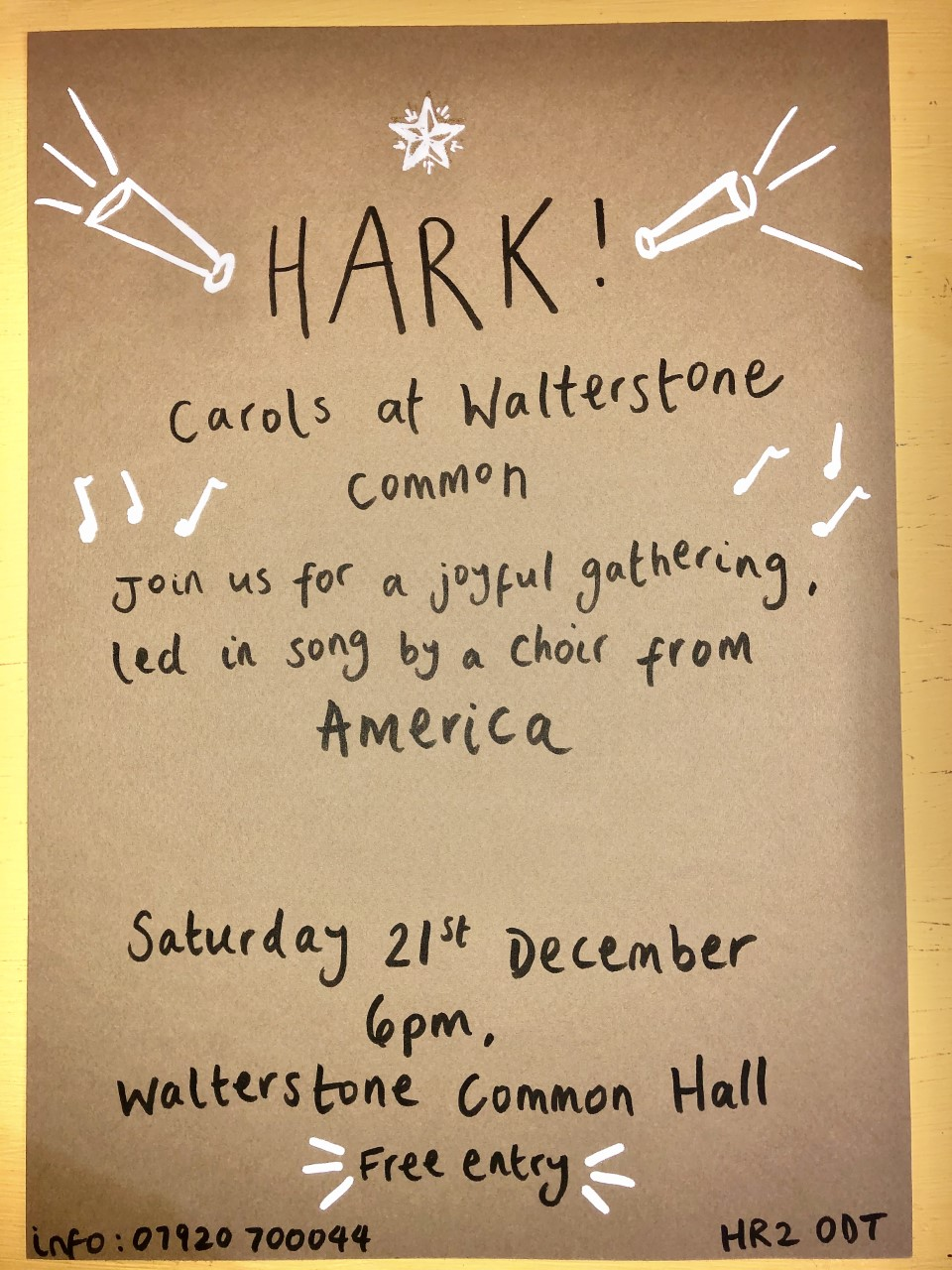 Hark!  US Choir led carols @ Walterstone Common