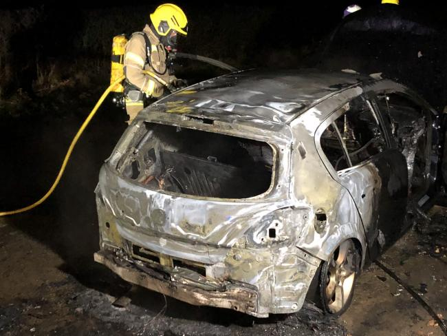 The car was well alight on arrival. Photo: HWFire Leominster