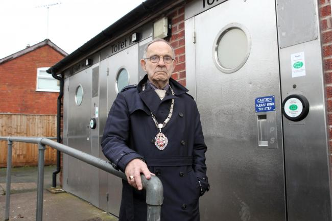 Bromyard mayor coun Roger Page outside the Tenbury Road public toilets that have been closed due to vandalism. Picture: Rob Davies