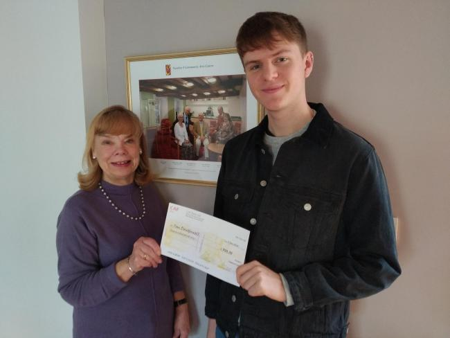 Talented arts student receives bursary given in memory of Number 8 founder