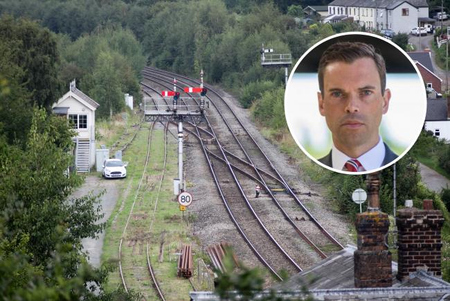 The railway line in Pontrilas. Inset: Ken Skates, Welsh Government Economy and Transport minister.