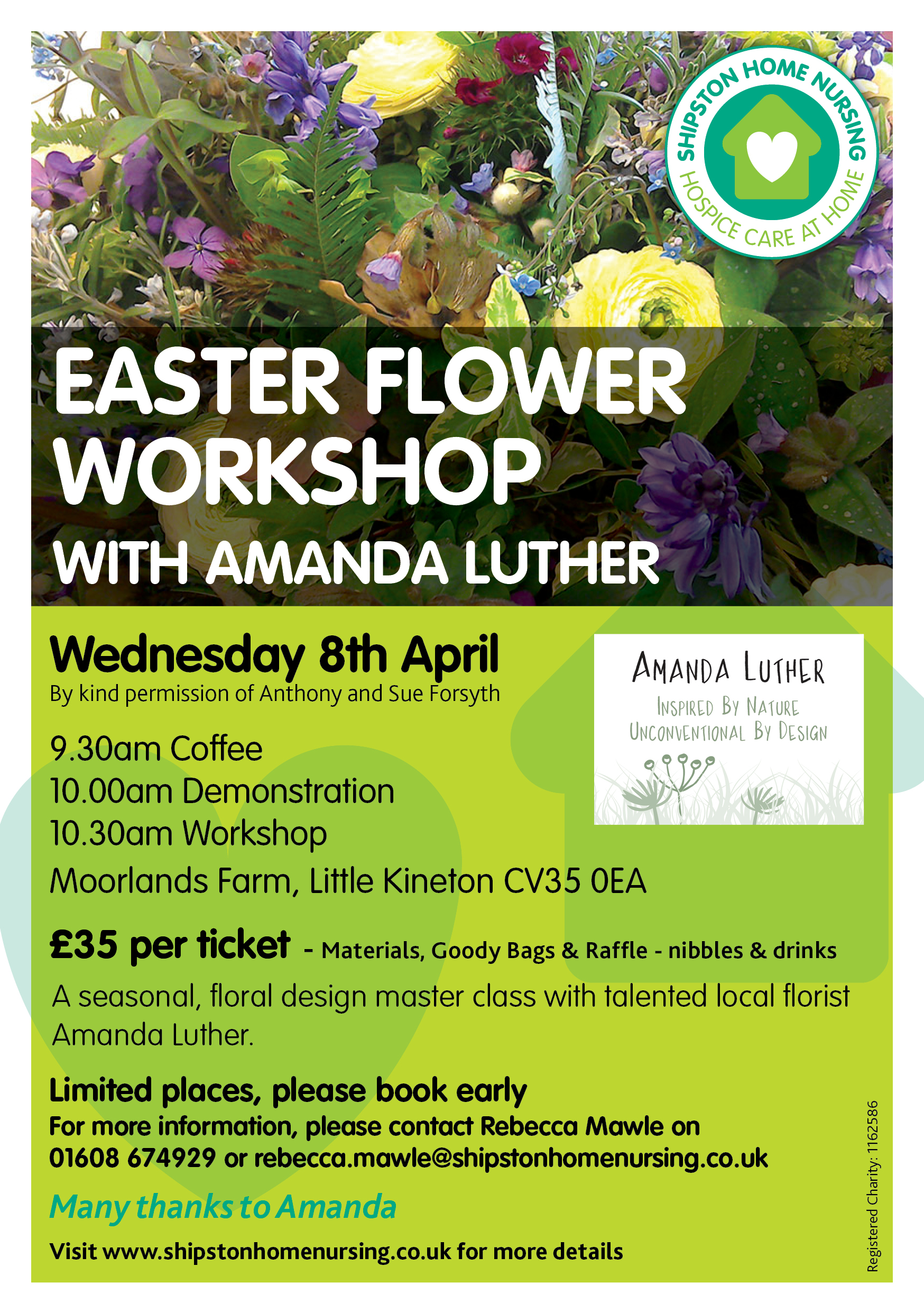 Easter Flower Workshop with Amanda Luther supprting Shipston Home Nursing