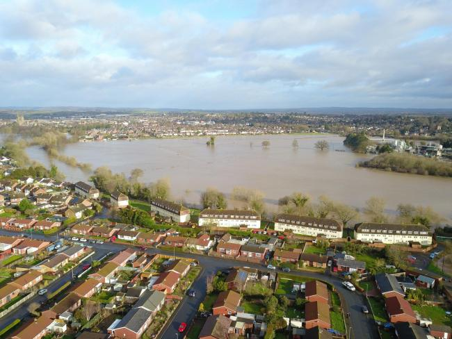 Storm Dennis brought extensive flooding to Hereford in February. Picture: SWNS