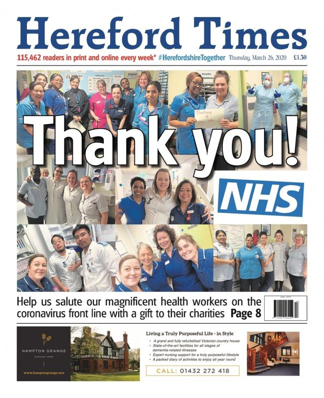 Hereford Times front page thanking guardian angels of the NHS