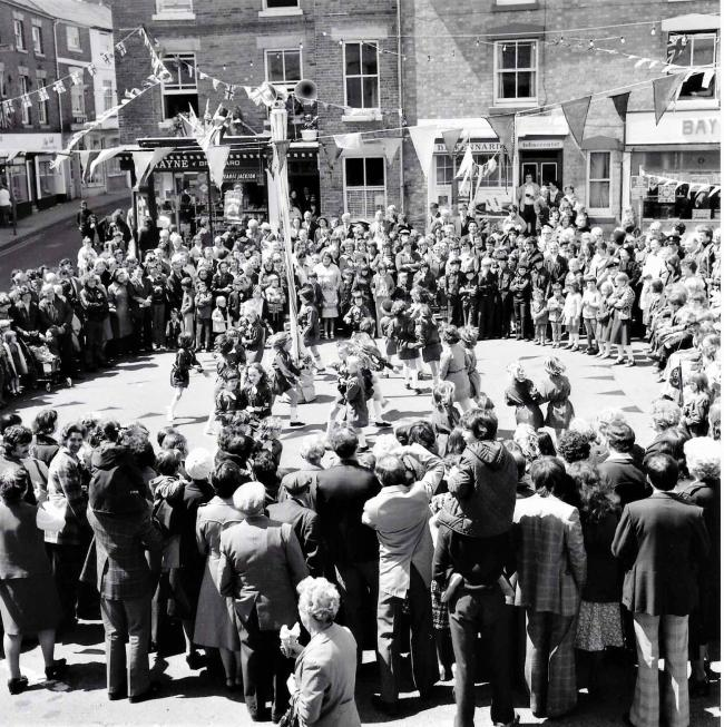 Maypole dance in Market Square, Bromyard, Herefordshire. Date unknown. Copyright Hereford Times.