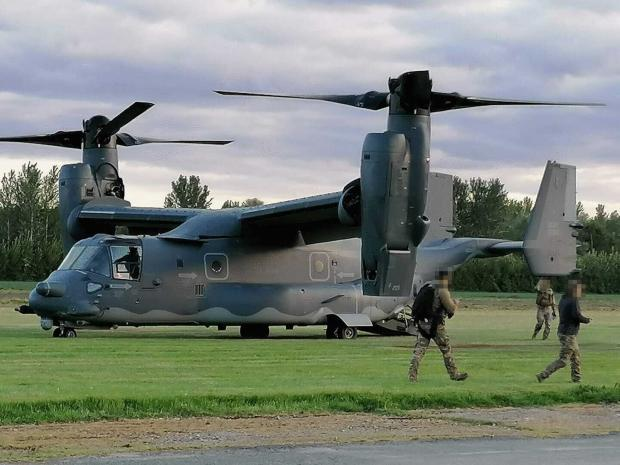 Ledbury Reporter: Bell Boeing Osprey aircraft at Shobdon airfield, Herefordshire. Picture: Donna Davies