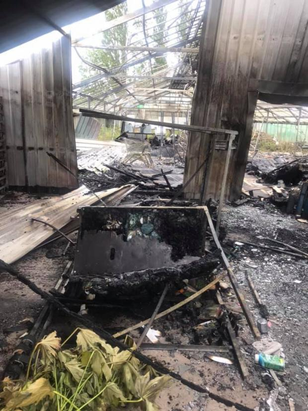 Ledbury Reporter: A glasshouse was destroyed in the fire