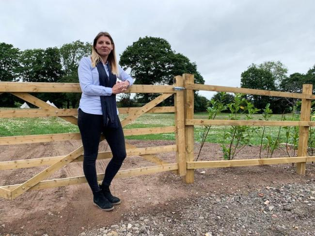 Founder of CS Vanguard Clare Sandford at the proposed site for 13 luxury holiday cabins