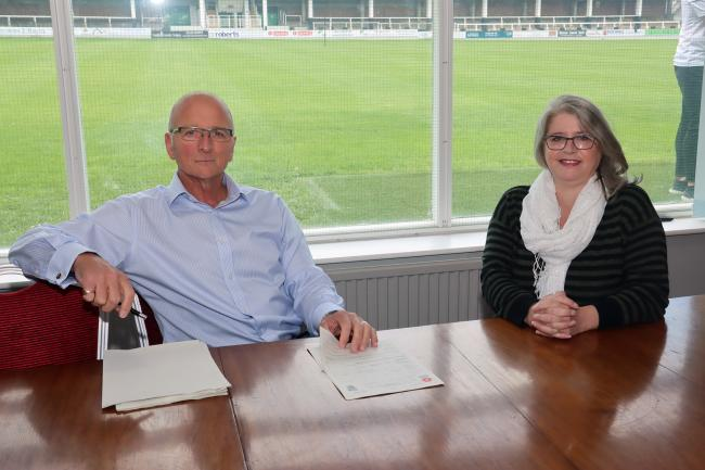 New board member Joanie Roberts (right) with Bulls' chairman Andrew Graham. Picture: Steve Niblett