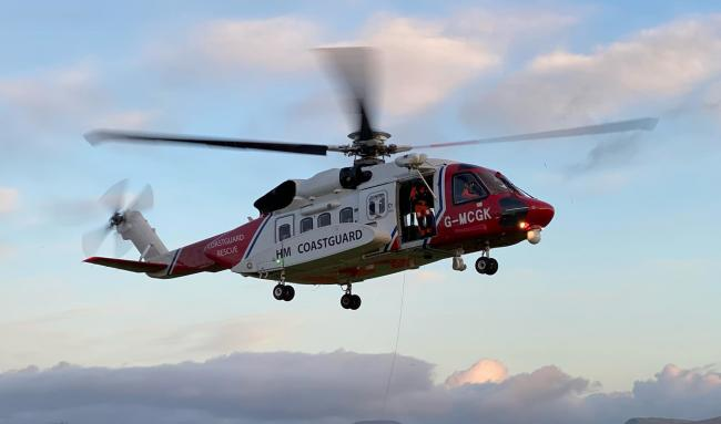 A coastguard helicopter was seen flying over Herefordshire on Monday