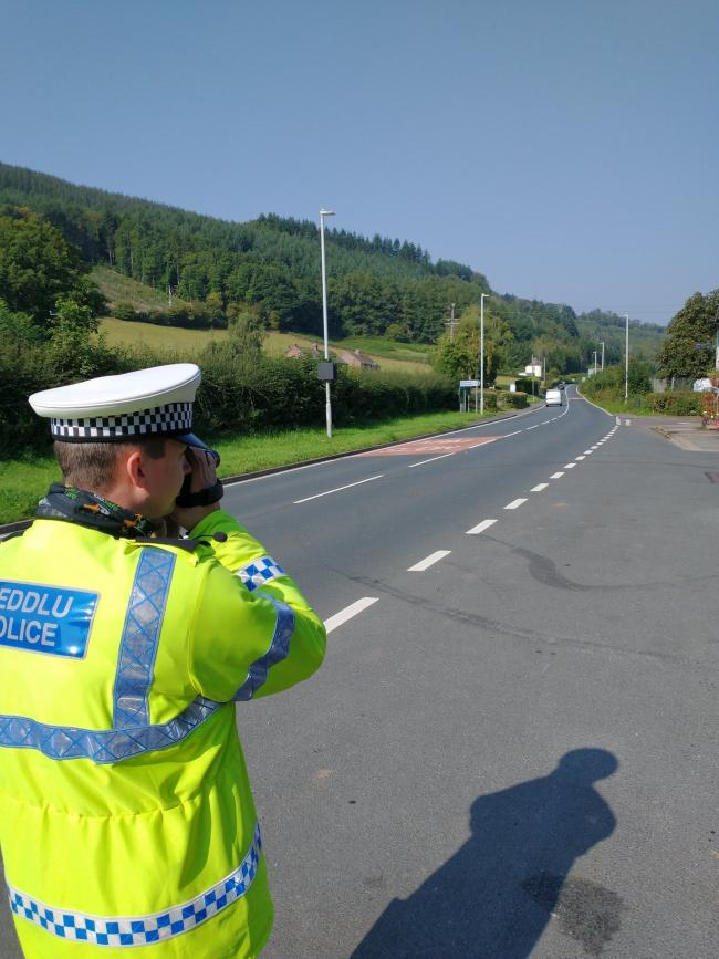 Police carrying out speed checks on the A470 at Llyswen. Picture: Powys Roads Policing