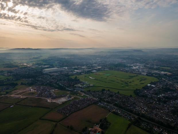 Ledbury Reporter: The view over Hereford from the skies above the Racecourse. Picture: DronePics.Wales CC-BY 4.0