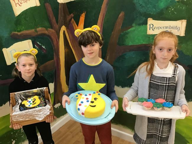 HAPPY: Children in Need cakes were won by Nicole, Abel and Hanna