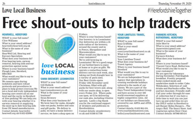 Ledbury Reporter: Local Local Business shout-outs in this week's Hereford Times