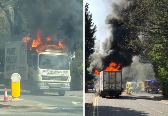 Firefighters tackled a Bartonsham Farm Dairies lorry which was ablaze on Aylestone Hill        Pictures: Karen Pardoe/Gino Beaumont