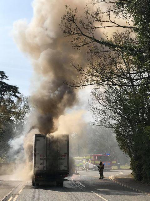 Ledbury Reporter: The lorry fire on Aylestone Hill closed the A465 for more than two hours. Picture: Gino Beaumont
