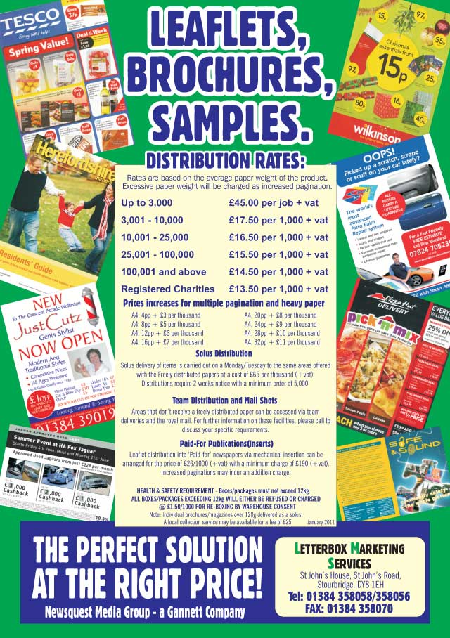 leaflet distribution latest prices