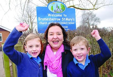 Ofsted: Head Bronwyn Mabey with pupils Emily Windsor-Clive, aged six, and George Windsor-Clive, four.