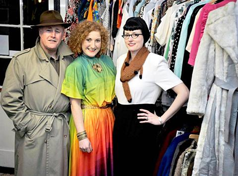 STYLISH LOOK: From left, customer Steve Gardner, Second Hand Rose owner Clare Bridge.