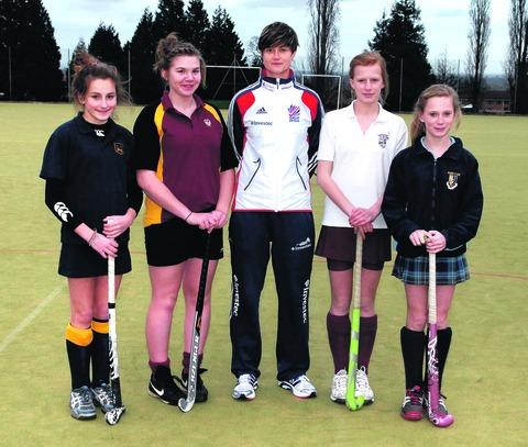 Team GB Hockey player Sally Walton visited Malvern St James to see a four-school hockey tournament. (l-r): Isabelle Heath, 13, The Chase, Sophie Witherford, 16, Dyson Perrins, Sally Walton, Jessica Aps, 14, The Chantry, Penny Green, 14, Malvern St James.